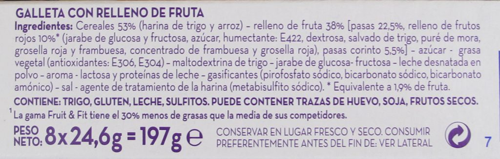 lista ingredientes galletas